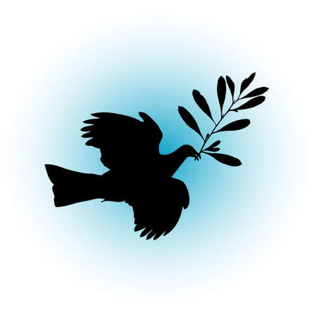 A peace dove with an olive branch in the beak  Illustration