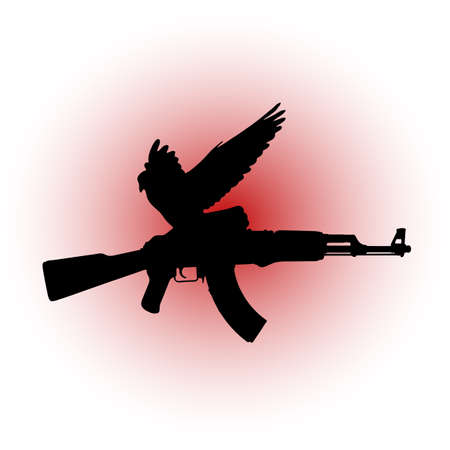 protest sign: A dove with a Kalashnikov in the talons