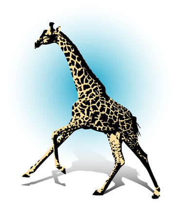 A galloping giraffe under a blue sky  Illustration