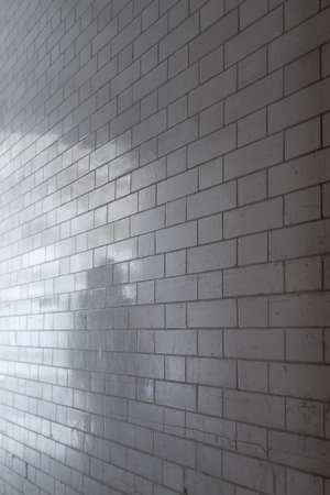 Ghostly shadow of person reflected in white glazed brick wall