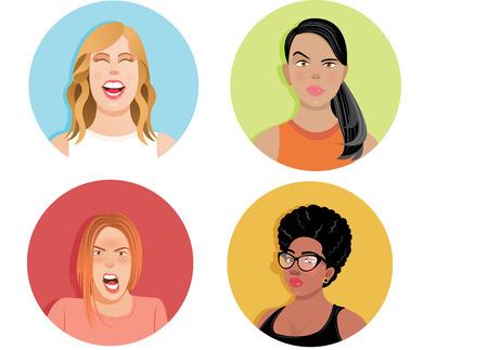 gestos y expresiones faciales Ilustración de vector