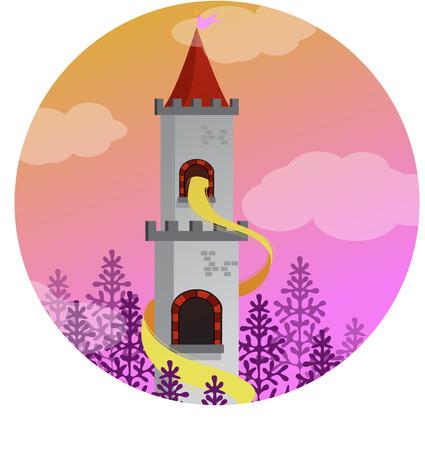 rapunzel in the tower, vector, princess, illustration Vektorové ilustrace