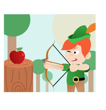 robin hood archer, illustration, vector, history Stock Illustratie
