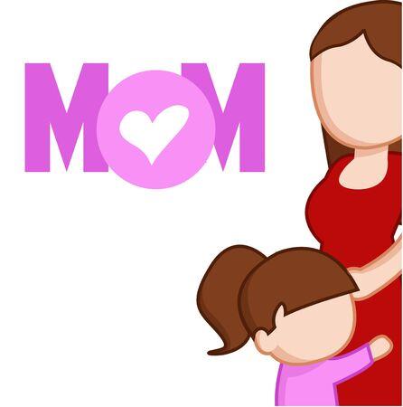 little daughter hugging her mom