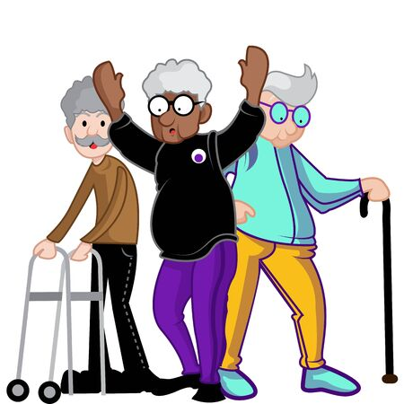 Seniors adult walking in sweatshirt