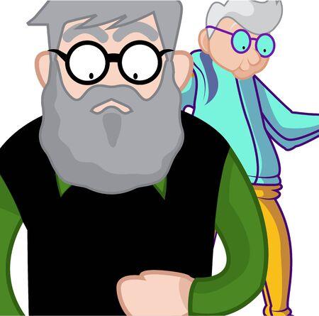 Seniors adult walking in sweatshirt, vector, illustration Illusztráció