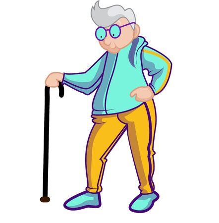 Senior adult walking in sweatshirt
