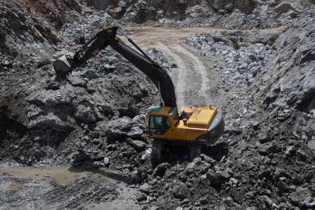 big excavator working in gypsum mine Stock Photo - 3447019