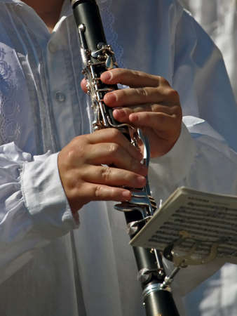 pushbuttons: musician hands playing clarinet with silver pushbuttons