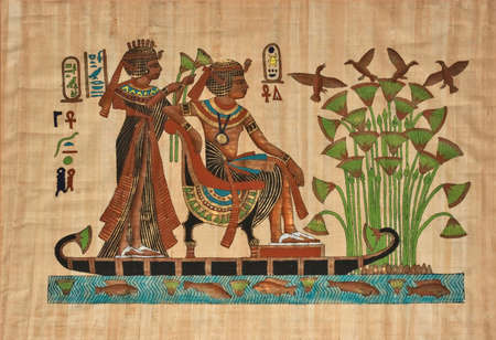 beautiful ancient egyptian papyrus showing pharaoh on boat