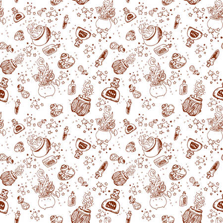 Seamless pattern with magic bottles, potions and stars. Vector pattern