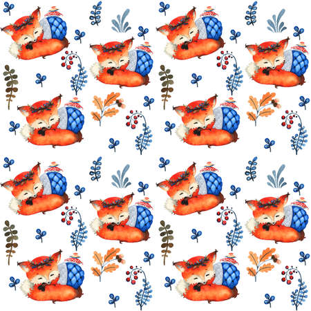 Seamless pattern. Pattern with cute forest animals. Sleeping fox and forest plants. Watercolor illustration, handmade