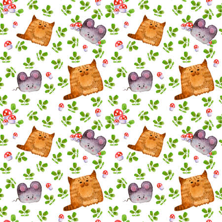 Seamless pattern. Pattern with cute forest animals. Cat and mouse. Watercolor illustration, handmade