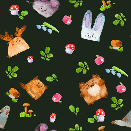 Seamless pattern. Pattern with cute forest animals. Watercolor illustration, handmade