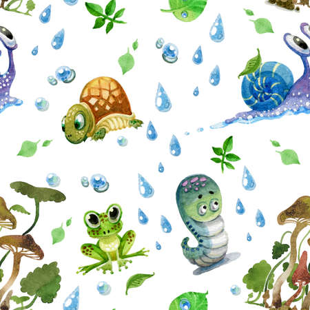 Seamless pattern. Destky style. Turtle, caterpillar, snail, frog, mushrooms, drops and leaves.
