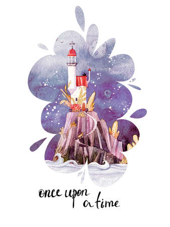 Fantastic lighthouse. Fairytale tower, illustration for the children, print, holiday card.
