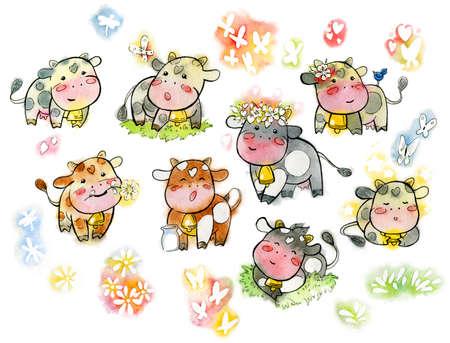 Set of watercolor cows. Cartoon set of kawaii happy cows. Handmade watercolor