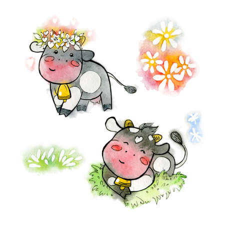 Set of black watercolor cows. Cartoon set of kawaii of happy cows with a wreath and in the meadow. Handmade watercolor