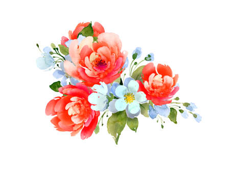 Delicate bouquet with peonies and small white flowers. Imagens