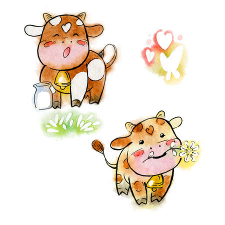 Set of red watercolor cows. Cartoon set of happy cows with flower and milk. Handmade watercolor