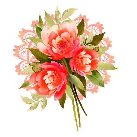 Delicate bouquet of three flowers of the same color. peons or roses. Beautiful openwork pattern. Watercolor illustration.