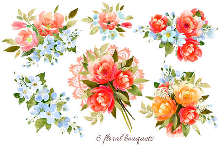 A set of bouquets of peonies, rose hips, apple trees, lace ribbon. Watercolor illustration, handmade Imagens
