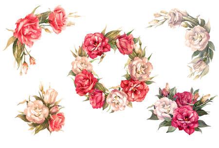 Set of 6 bouquets, bouquets of eustomas, roses. Floral arrangements - wreaths, bouquets, buttonholes Watercolor illustration Stock Photo