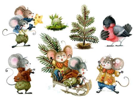 Set of cute christmas mice in cartoon style. Standard-Bild - 133212501