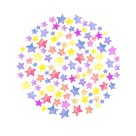 Watercolor stars, circle shaped pattern. Childrens style.