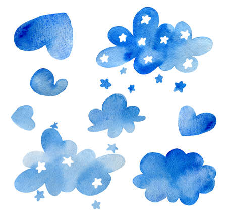 Watercolor clouds with stars isolated on white background.