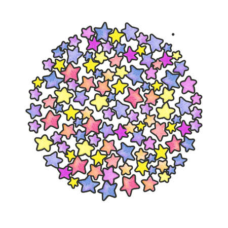 Watercolor stars with contour, circle shaped pattern.