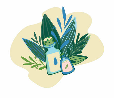 Herbal cosmetics, natural oil and petals. Vector hand drawn illustration for natural eco cosmetics store.