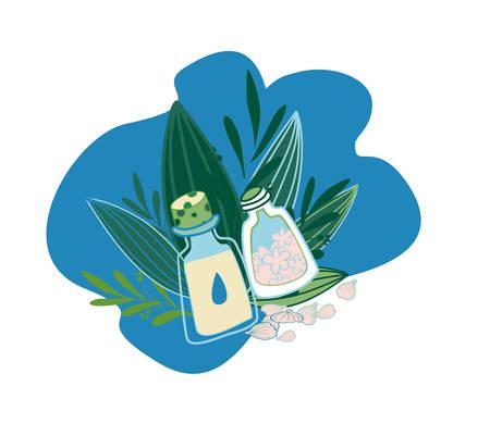 Herbal cosmetics, natural oil and petals. Olive oil, sakura or petals.