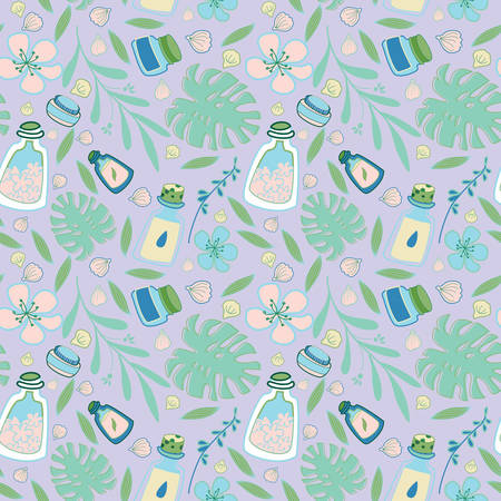 Organic cosmetic seamless pattern: bottles, jars, tubes. Herbal cosmetics texture. Flat hand drawn style. Woman stuff, eco girls accessory concept. Natural face care products. Ilustracja