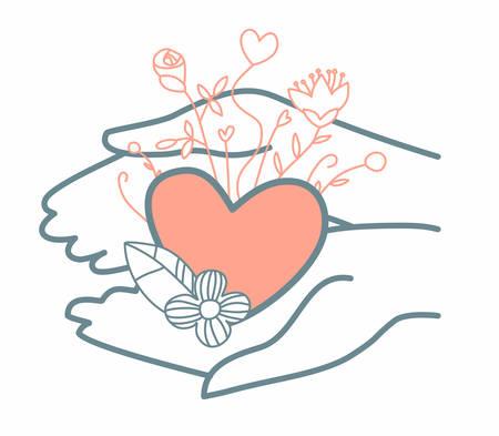 Image de mains attentionnées qui tiennent un cœur avec des fleurs. Illustration vectorielle