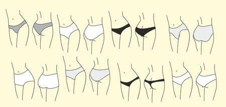 Different womens underpants. Womans body, silhouette. Vector illustration Stock Illustratie