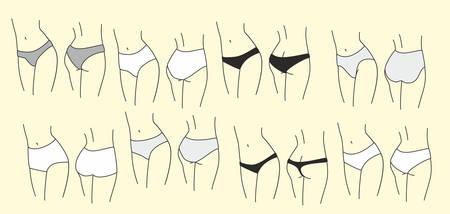 Różne majtki damskie. Ciało kobiety, sylwetka. Ilustracja wektorowa