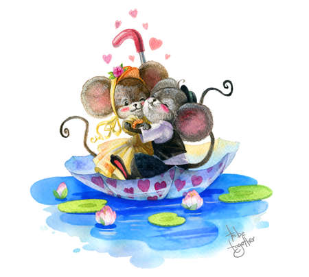 Two in love mice hug each other and swim in the umbrella on the water. Watercolor. Reklamní fotografie