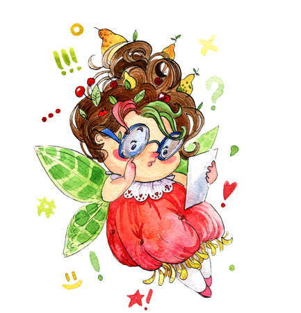 Little interested cartoon-style fairy looking at a piece of paper. Watercolor illustration, handmade. Фото со стока