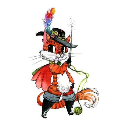 Cute cat in boots with the attributes of a tailor, thread, needle, buttons. Watercolor illustration, handmade.
