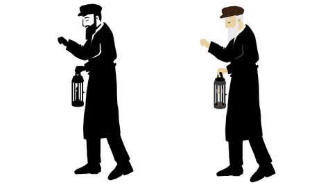 An elderly Jewish shamash with a white beard, from the old town. Holds a lantern with a candle in hand. And knocks on windows to wake up Orthodox men for Slichot prays in the month of Elul. vector