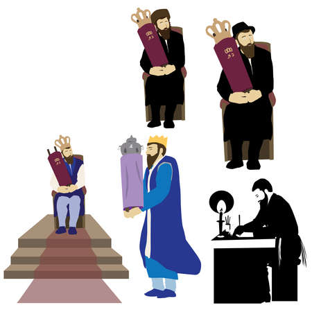 Jewish people hold Torah scrolls. A writer sits and writes with a feather on parchment. King standing and sitting. An ultra-Orthodox Chassid and Avrech observant sits and holds a Bible book