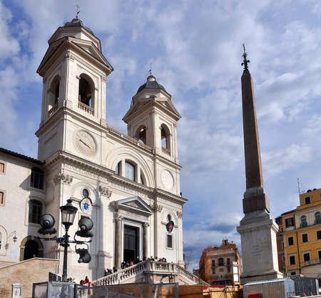 ROME, ITALY - MARCH, 2016: Frontal view of Trinita Dei Monti, in Piazza di Spagna.