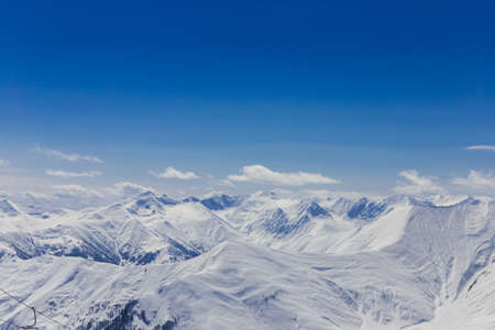 snowy mountains: Panoramic view at snowy mountains