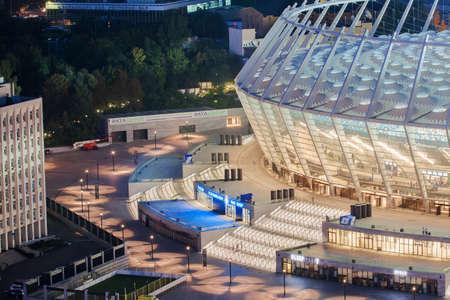 olimpiyskiy: Kiev, UKRAINE - AUGUST 22: Olimpiyskiy stadium before football match Editorial