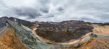 lava field: Panoamic view on lava field in Landmannalaugar national park in Iceland