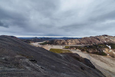 lava field: View on lava field in Landmannalaugar national park in Iceland