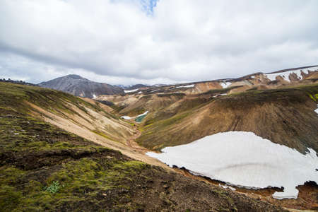 Landmannalaugar. Amazing multicoloured mountains near Brennisteinsalda at the start of the Laugavegur hike in the southern highlands of Iceland Stock Photo