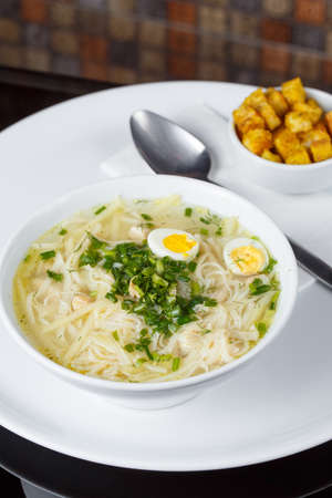 Chicken soup ugra osh with homemade noodles Banco de Imagens