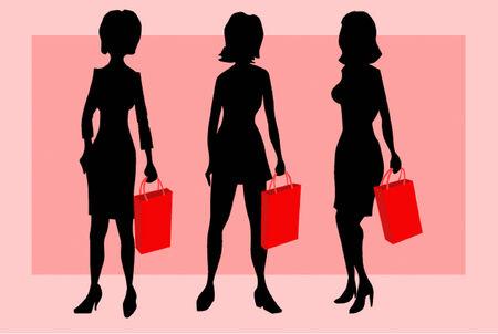 to hasten: Women hasten in shop on sale Illustration